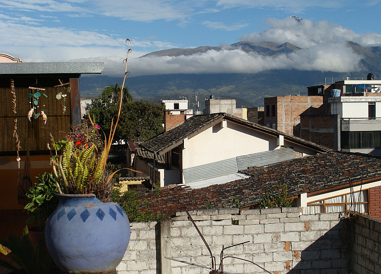 View from the roof terrace of the hostal in Otavalo