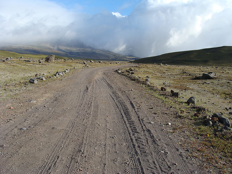 Dust road towards the Volcano Cotopaxi