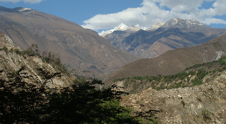 The valley of the Rio Santa and the mountains of the Cordillera Blanca