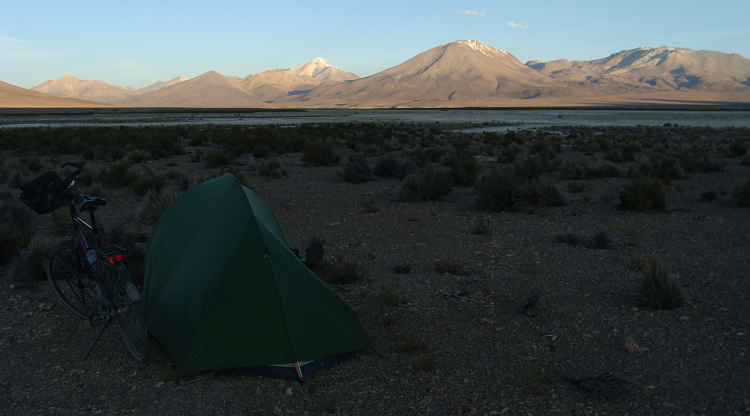 Campsite in a high Altiplano valley
