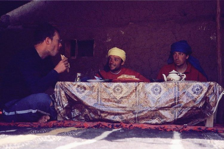 We were able to adapt easily to at least one important aspect of Moroccan culture: drinking loads of mint tea. From left to right: Marco, Willem and I. Picture by Marco Duiker