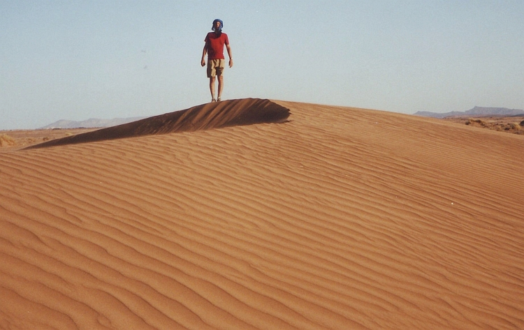 Me on the first dunes near Rissani. Picture by Willem Hoffmans