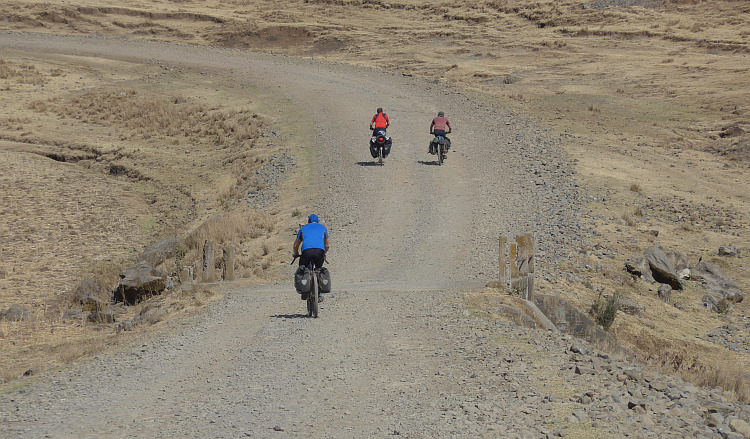Marc (blue), Marco (brown) and I (red) on te way to Muke Turi. Picture by Willem Hoffmans