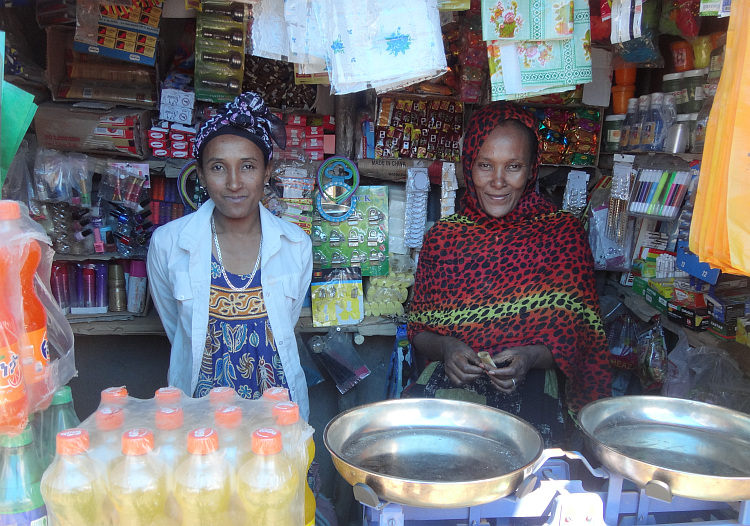 saleswomen of a shop in Alem Ketema