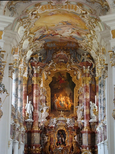 The baroque splendour of the Wieskirche, Germany