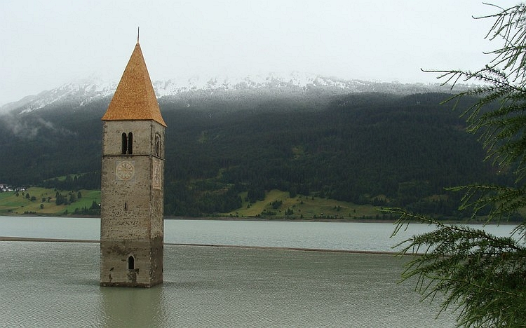 The underwater church of Graun, Sudtirol, Italy