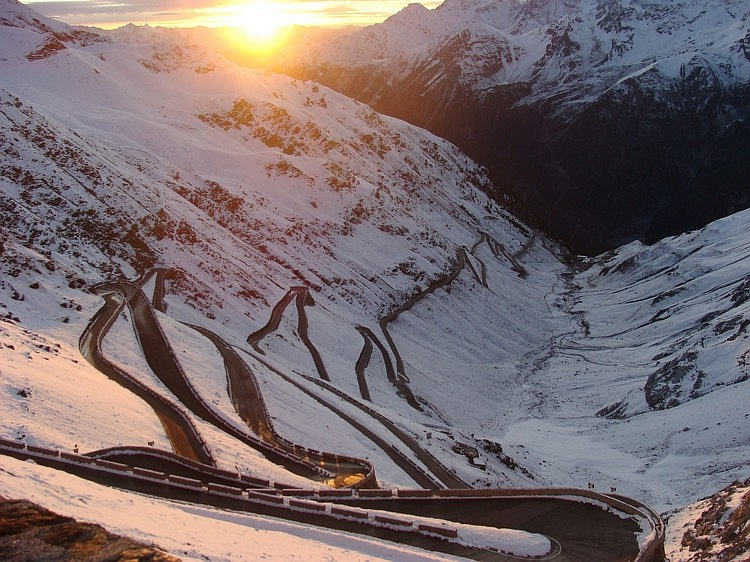 Looking back from the Passo di Stelvio at sunrise