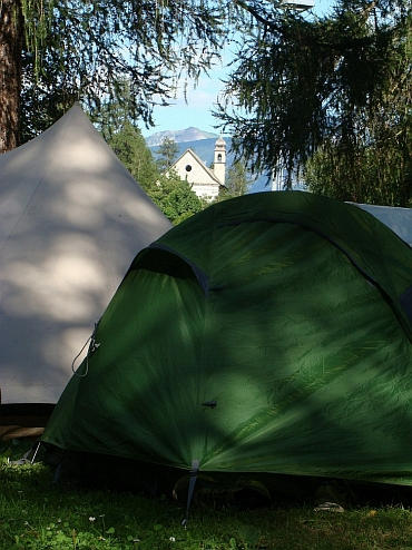 My tent (the green one) at the camping of Osanna, Val Vermiglio