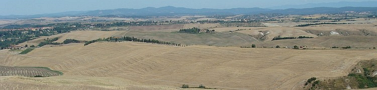 Panoramic and even wider, the Crete Senesi, Tuscany