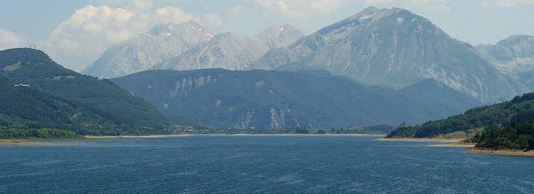 Lago di Campotosto and the mountains of the Gran Sasso d'Italia, Abruzzo