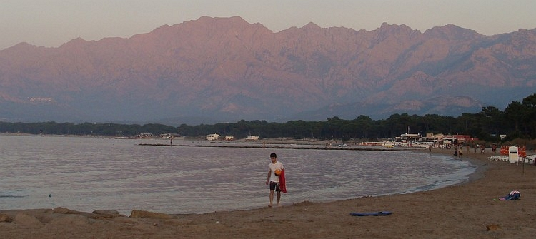 Sundown at the beach of Calvi