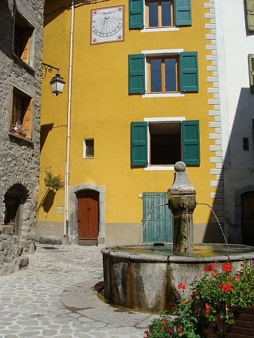 Little square in Colmars, upper Verdon Valley