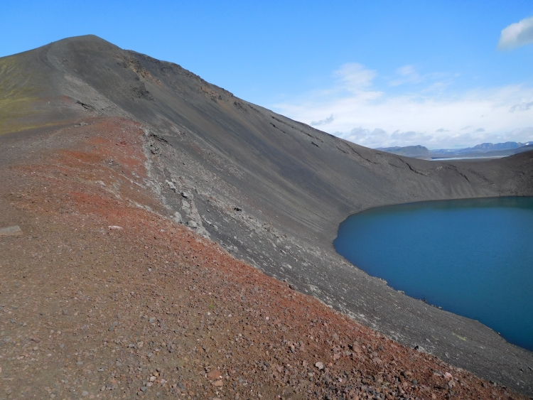 Crater lake Bláhylur in Landmannalaugar