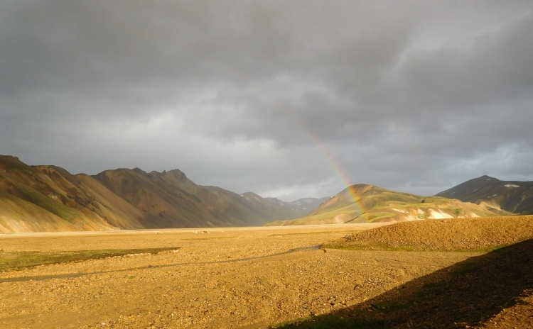 Rain with bow in Landmannalaugar