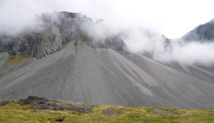 Landscape with scree slopes between Höfn and Djúpivogur