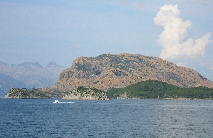 Rødøya (the Red Island) and the Seven Sisters mountain range
