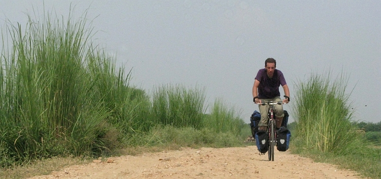 Me on our first unpaved road in India, only twenty kilometres southwest of Gurgaon. Picture by Willem Hoffmans
