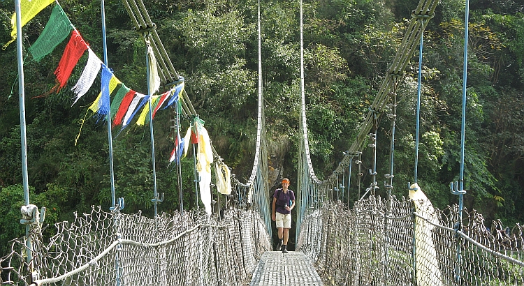 Me, on a hanging bridge over the Marsyangdi River